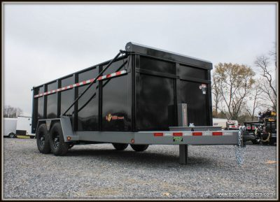 Bwise Dump Trailer 82x16'x15K (DLP16-15-H) 48 sides, aluminum ramps, tarp kit, black gray