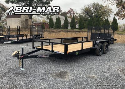 BLACK BRI-MAR UTILITY LANDSCAPE TRAILER SPLIT LANDSCAPE RAMPS BLACK WHEELS