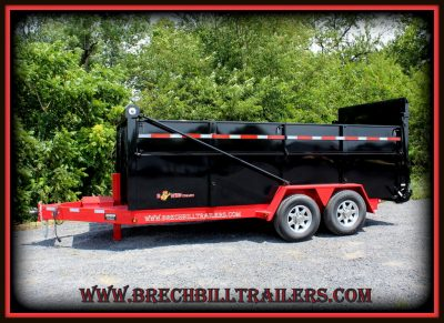 Bwise Ultimate Dump Trailer 82x16'x15.4K (DU16-15) BLACK WITH RED FRAME