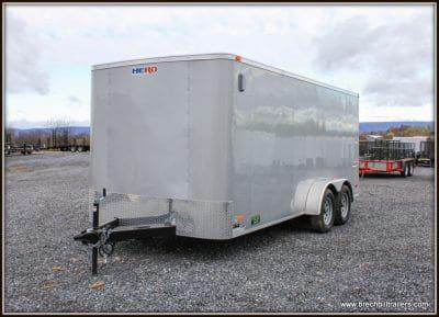 Bravo Hero Enclosed Cargo Trailer 81x16'x7K (HR716TA2) RAMP DOOR, SILVER