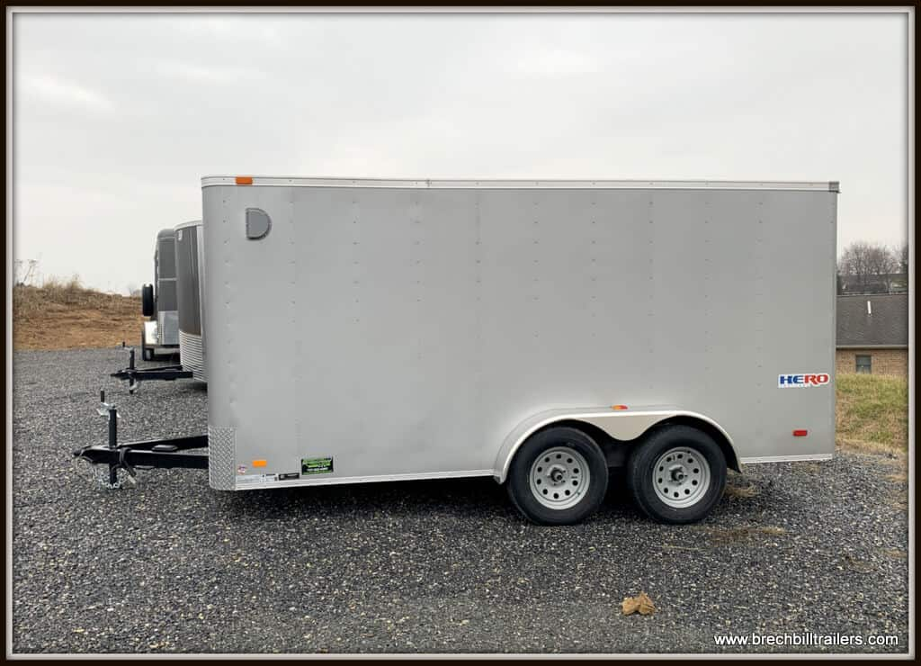 Bravo Hero Enclosed Cargo Trailer 81x14'4x7K (HR714TA2) silver, ramp door