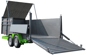 Bwise DU Ultimate Dump Trailer Showing Fold Down Sides and Tarp Kit, Lime Green and Htone Gray Gate Down