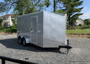 CARGO ENCLOSED BOX TRAILER SILVER ANGLED NOSE BRAVO