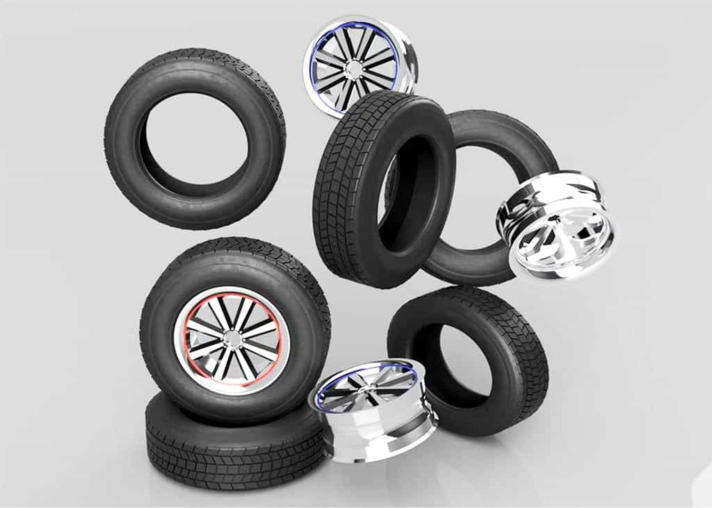 aluminum wheels and ruber tires