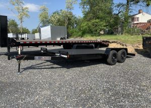 CAR HAULER TRAILER WITH RAMPS AND BLACK MOD WHEELS