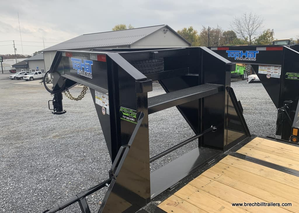 BLACK STEEL GOOSENECK DECKOVER TRAILER JUMBO RAMPS FOR SALE NEAR ME