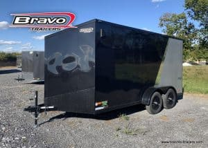 ENCLOSED CARGO BOX TRAILER FOR SALE NEAR ME 30 SLANT WEDGE V NOSE, MIDNIGHT PKG, SCOUT PLUS PKG