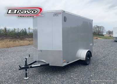 BOX ENCLOSED CARGO TRAILER SILVER RAMP DOOR TRAILERS FOR SALE NEAR ME