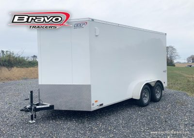 "WHITE BRAVO SCOUT BOX ENCLOSED CARGO RAMP DOOR SCOUT PLUS PKG, 6"" EXTRA HEIGHT, 30 V NOSE"