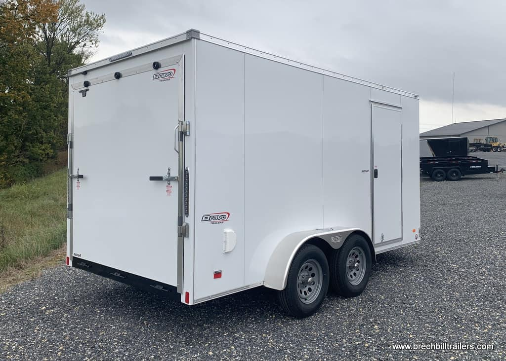 """WHITE BRAVO SCOUT BOX ENCLOSED CARGO RAMP DOOR SCOUT PLUS PKG, 6"""" EXTRA HEIGHT, 30 V NOSE"""