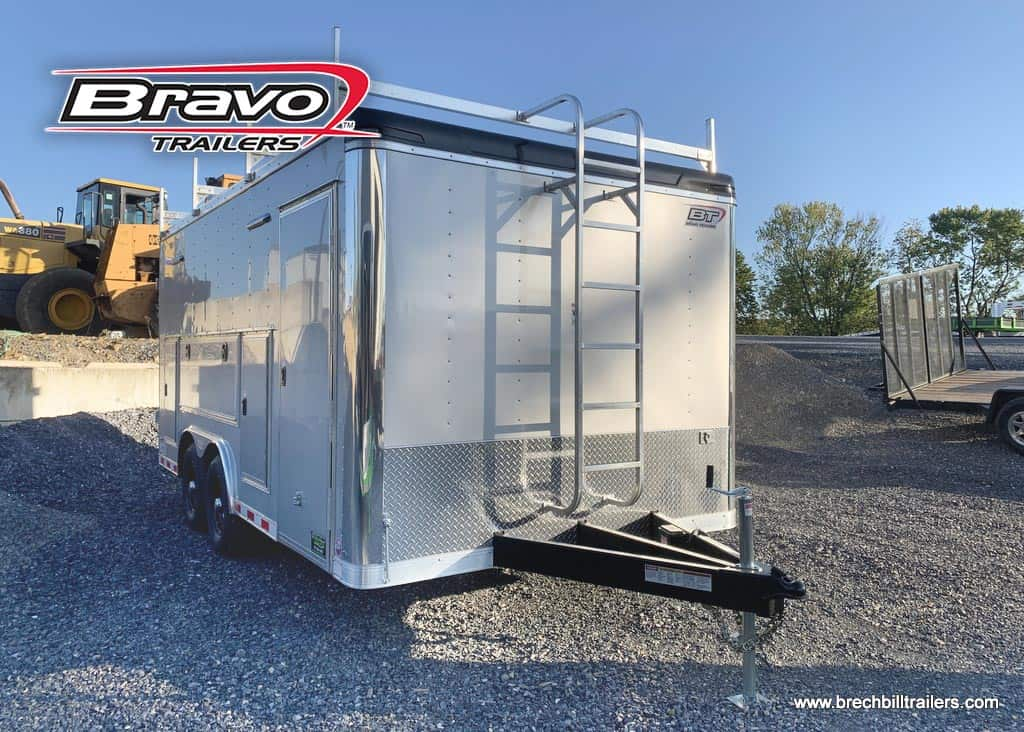 ENCLOSED BOX CARGO SILVER LADDERS STEEL TRAILER FOR SALE NEAR ME