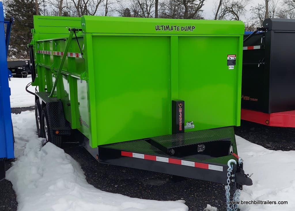 ULTIMATE DUMP TRAILER LIME GREEN WITH BLACK FRAME