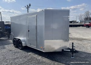 SILVER BOX TRAILER ENCLOSED CARGO ROOF STEEL WALLS TRAILERS FOR SALE