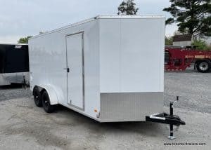STEEL ENCLOSED BOX CARGO TRAILER WHITE FOR SALE