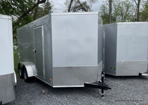 ENCLOSED TRAILER SILVER EXTRA HEIGHT V NOSE DOUBLE DOORS STANDARD WHEELS 7'X14'