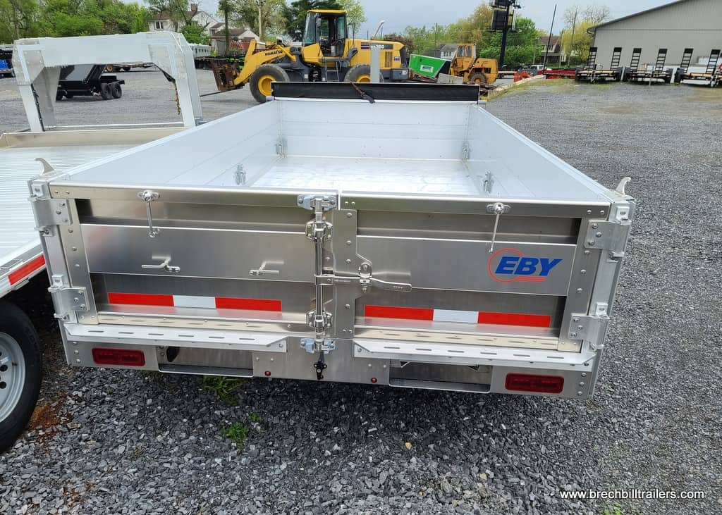 EBY DUMP TRAILER ALUMINUM WHEELS 2 RAMPS PULL TARP BARN DOORS SPARE TIRE