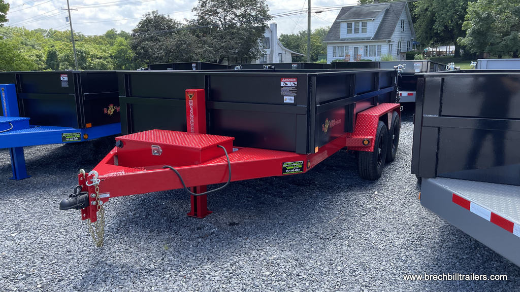 RED AND BLACK DUMP TRAILER