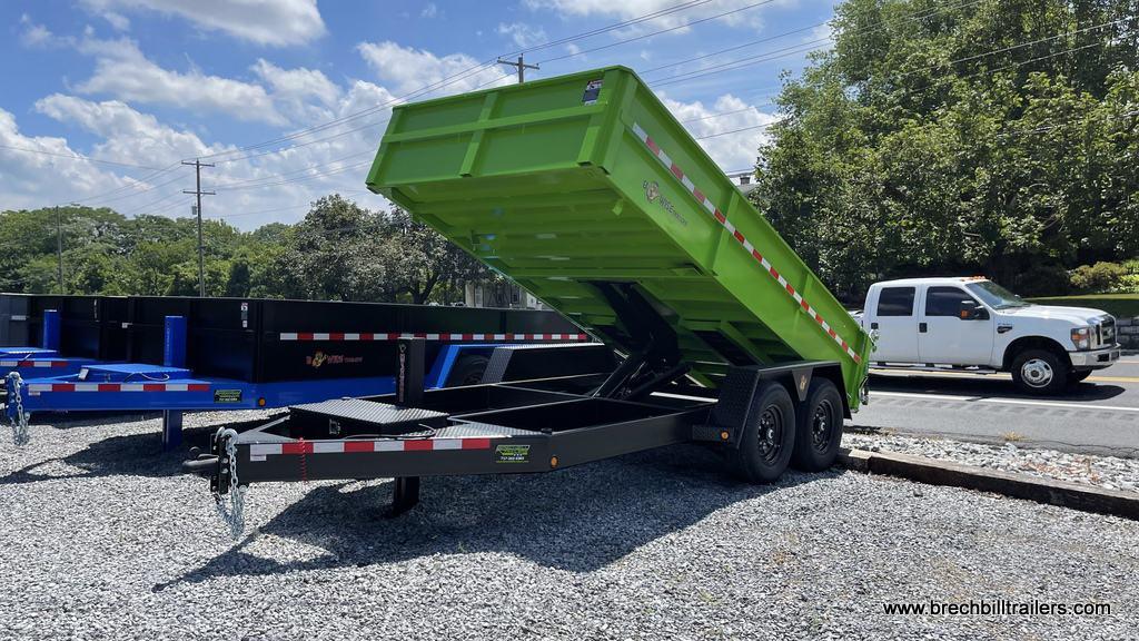 steel lime green and black dump trailer