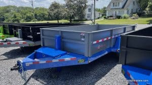 steel dump trailer, htone gray, blue
