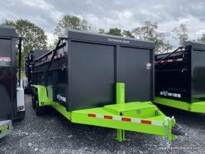 Bwise Ultimate Dump Trailer 7'x16'x15.4K (DU16-15) HTONE BLACK BOX WITH LIME GREEN FRAME, BLACK ALUMINUM WHEELS, 1