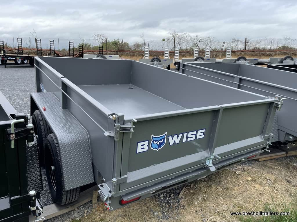 HTONE GRAY DUMP TRAILER WITH BWISE COMBO GATE AND STEEL LADDER RAMPS SLIDE IN
