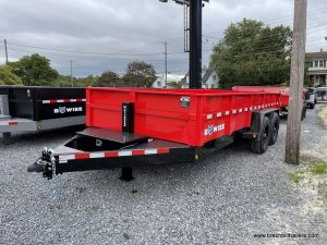 BLACK AND RED BWISE DUMP TRAILER WITH COMBO GATE FOR SALE
