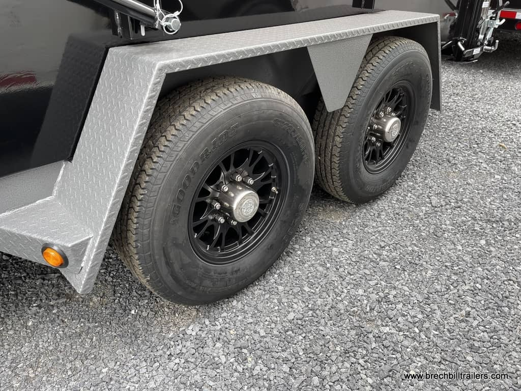 BLACK AND GRAY BWISE ULTIMATE DUMP TRAILER WITH EVERYTHING, BLACK ALUMINUM WHEELS, TARP KIT, FOLDING SIDES