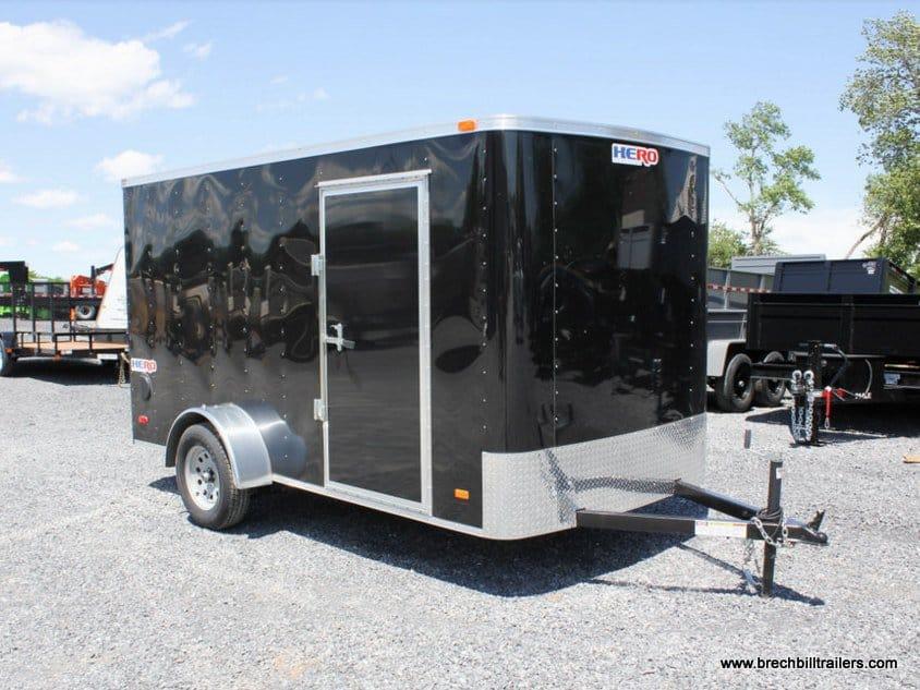 BLACK ENCLOSED CARGO TRAILER WITH RAMP DOOR